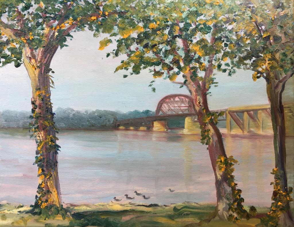 painting of an old bridge over a river