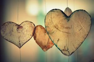 wooden hearts on string