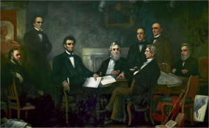 """""""President Lincoln Reading the Emancipation Proclamation to His Cabinet"""" by Francis Bicknell Carpenter"""