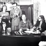 Humanist Rev Carl Storm and college students, mid-Twentieth Century