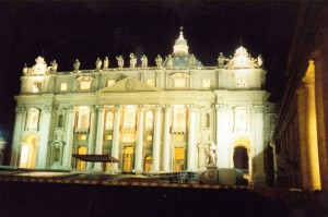 St. Peter's Basilica at night  (Photo:  Kathy Schiffer)