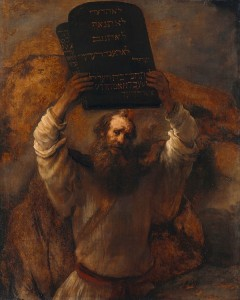 "Rembrandt, ""Moses With the Ten Commandments"" [Public domain], via Wikimedia Commons"