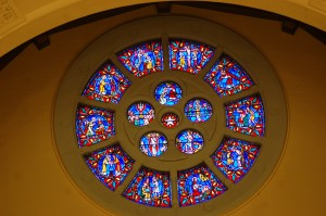 The Burnham Rosary Window at the new Our Lady of the Rosary Church