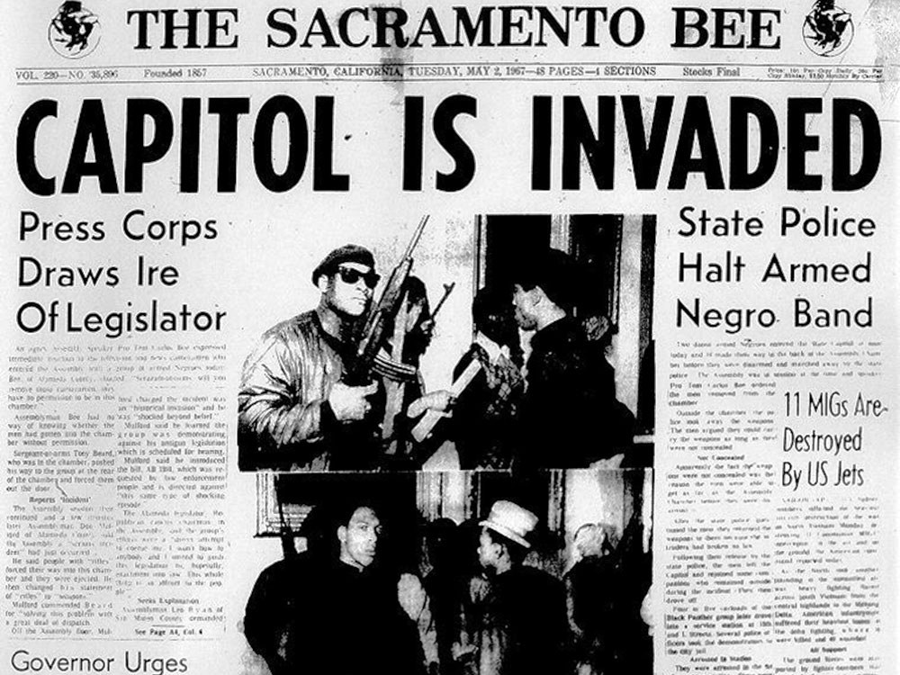 Front page of the Sacramento Bee, May 2nd 1967