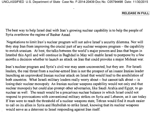 """""""The best way to help Israel deal with Iran's growing nuclear capability is to help the people of Syria overthrow the regime of Bashar Assad"""" - Hillary Clinton"""