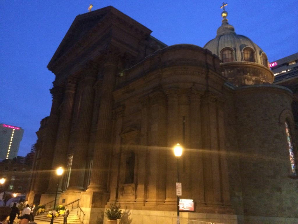 Dawn at the Basilica of Sts Peter and Paul, Philadelphia, where the pope is about to say mass.
