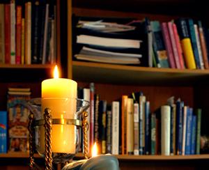books, candle