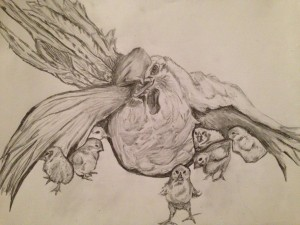Drawing of a nesting hen