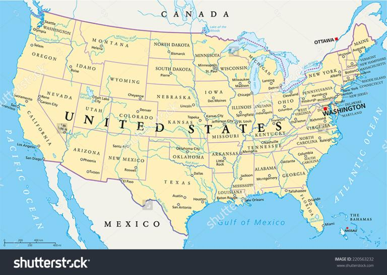 Political Map Of America 2016.Stock Vector United States Of America Political Map With Capital