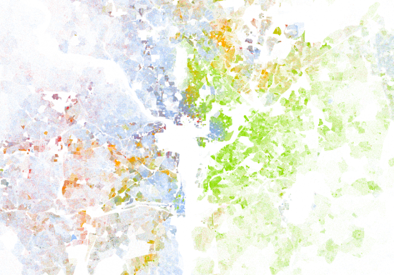 The Most Sobering Thing about the Racial Dot Map | Libby Anne Demographic Dot Map on