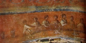 "Fractio panis (""Breaking of Bread""), Catacomb of Priscilla in Rome, ca. 2nd Century"