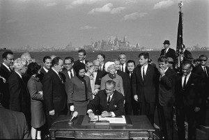 President Johnson Signs the 1965 Immigration Act (By Yoichi R. Okamoto [Public domain], via Wikimedia Commons)