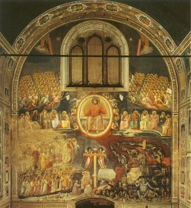 In Giotto's Last Judgment (1306), not all of the saints gaze toward Jesus Christ. Some look at each other. Still, heaven is strictly hierarchical and static.