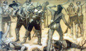 Pequot War, drawing by Charles Stanley Reinhart, ca. 1890