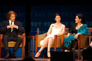 Heughan, Balfe, and Gabaldon in 2014