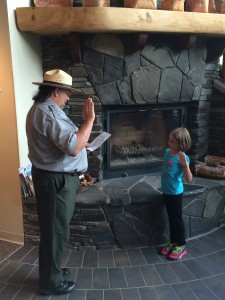 Lena being sworn in as a junior NPS ranger