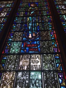 A stained glass window from Clinton's childhood church in Park Ridge, IL