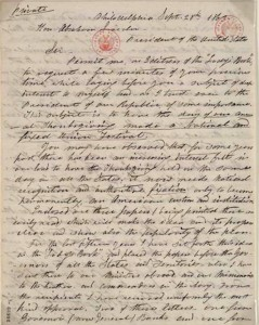 Hale's Sept. 1863 letter to Lincoln about Thanksgiving