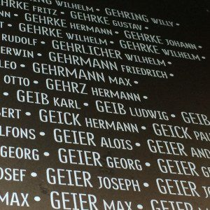 List of German names at the new Ring of Remembrance near Ablain-Saint-Nazaire, France