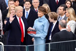Trump taking the oath of office