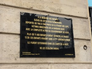 Memorial plaque in Paris for Jewish children deported and exterminated between 1942 and 1944