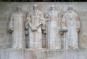 Reformation Wall, Geneva. Knox is on the far right, next to William Farel, John Calvin, and Theodore Beza.