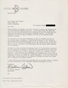 1970 letter in support of conscientious objector application