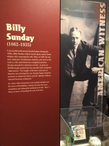 Billy Sunday display in WW1 America exhibit at Minnesota History Center