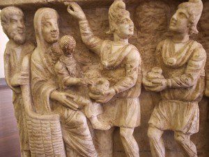 Magi with Mary and Jesus in a 3rd century carving