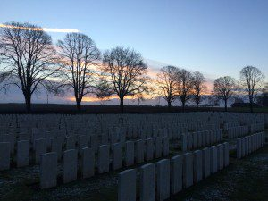 dawn at Delville Wood Cemetery