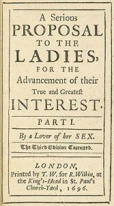 serious proposal to the ladies Mary Astell