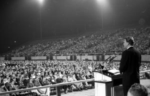 Billy Graham at a 1961 crusade in Tallahassee -- courtesy of the State Library and Archives of Florida