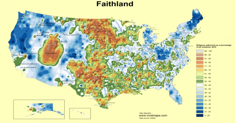 Faithland What S The Most Highly Religious Part Of America