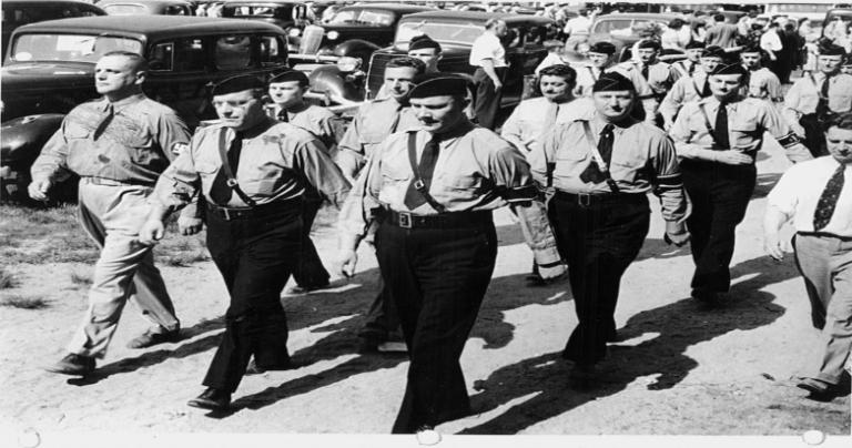 German American Bundists marching in 1939