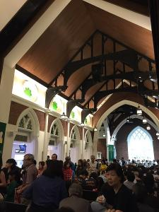 Congregation inside Wesley Methodist Church in Singapore