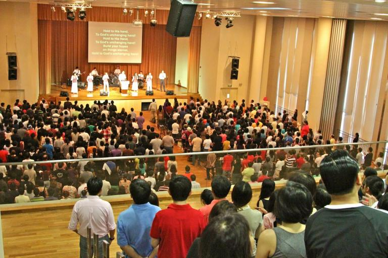 Congregation worshipping at Singapore's Central Christian Church