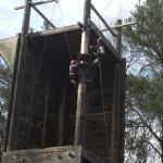 Lena getting up to the start of the zipline