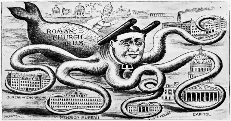 1894 APA cartoon showing the Catholic church as an octopus whose tentacles coil around institutions of the U.S. government