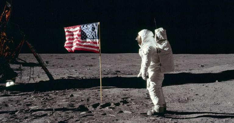 Buzz Aldrin and the American flag on the Moon
