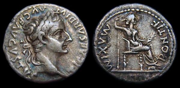 Roman denarius with Tiberius