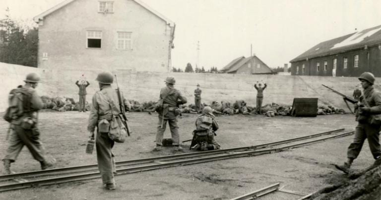 SS guards being executed at Dachau