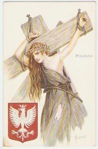 WWI propaganda poster showing a figure of Poland being crucified