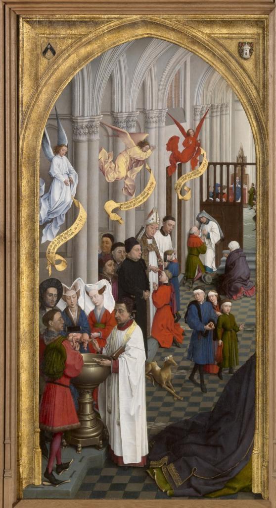 Baptism, Confirmation, and Penance in Rogier van der Weyden's Seven Sacraments altarpiece