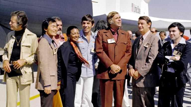 Star Trek cast and crew with space shuttle Enterprise in 1976