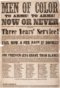 1863 broadside calling African Americans to fight for the Union