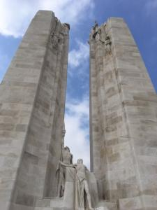 The two main columns of the Canadian WWI memorial at Vimy, France