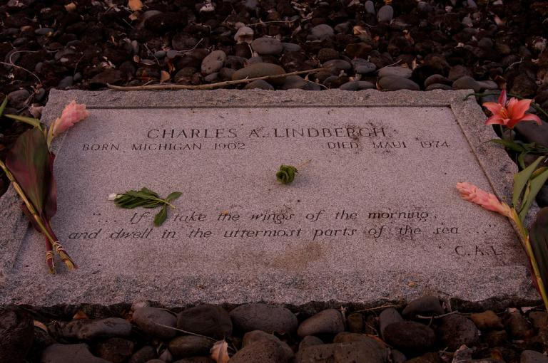 Charles Lindbergh's grave stone