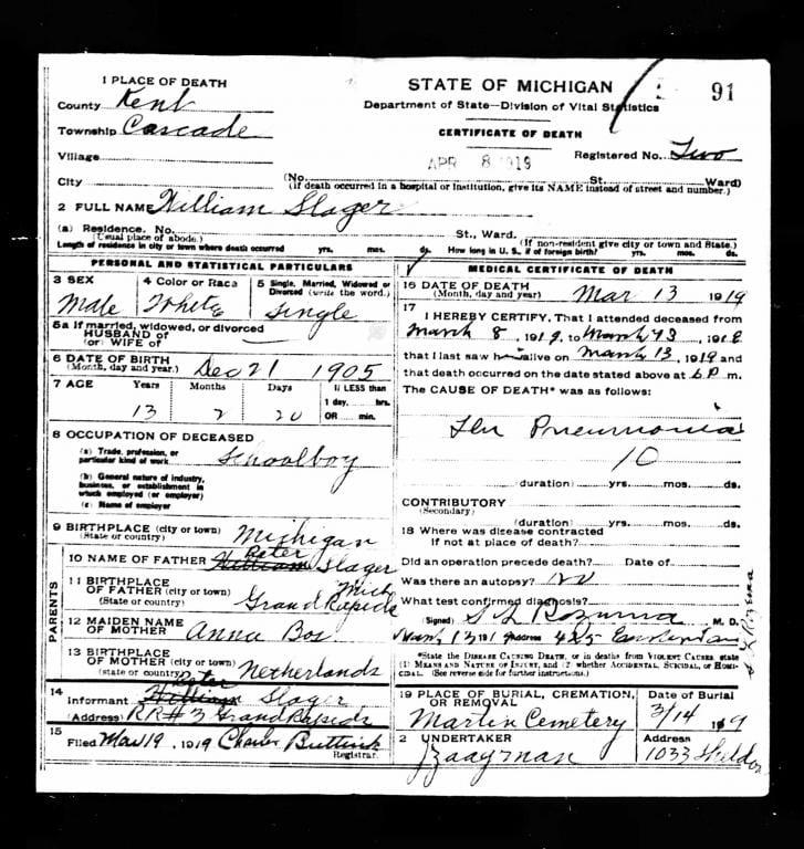 """Death certificate for a """"Spanish flu"""" victim"""