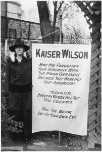 """1917 suffragist banner addressed to """"Kaiser Wilson"""""""