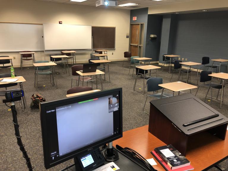 Bethel University classroom with desks set six feet apart